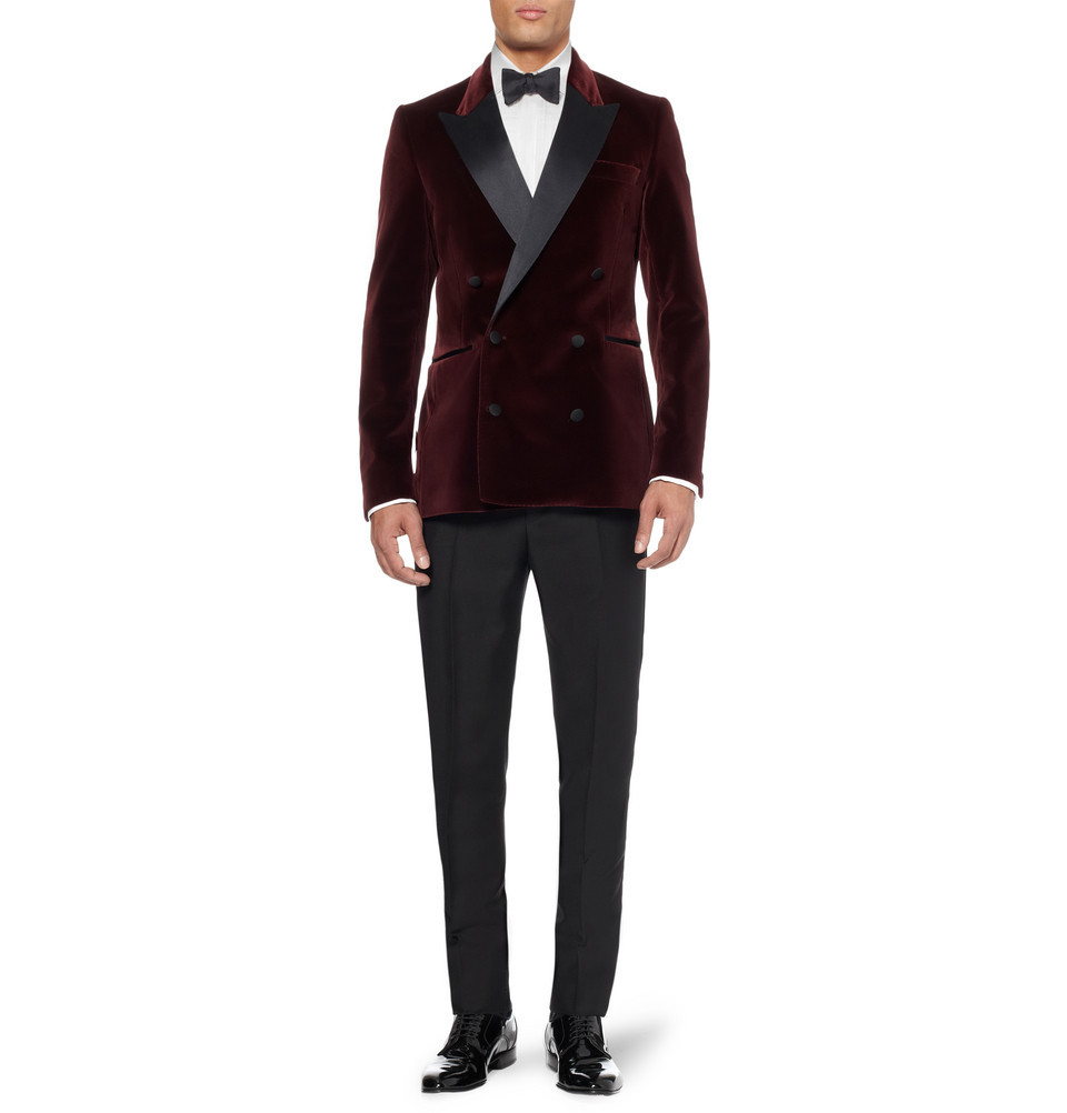 Red Velvet Tuxedo Jacket for Stylish Grooms