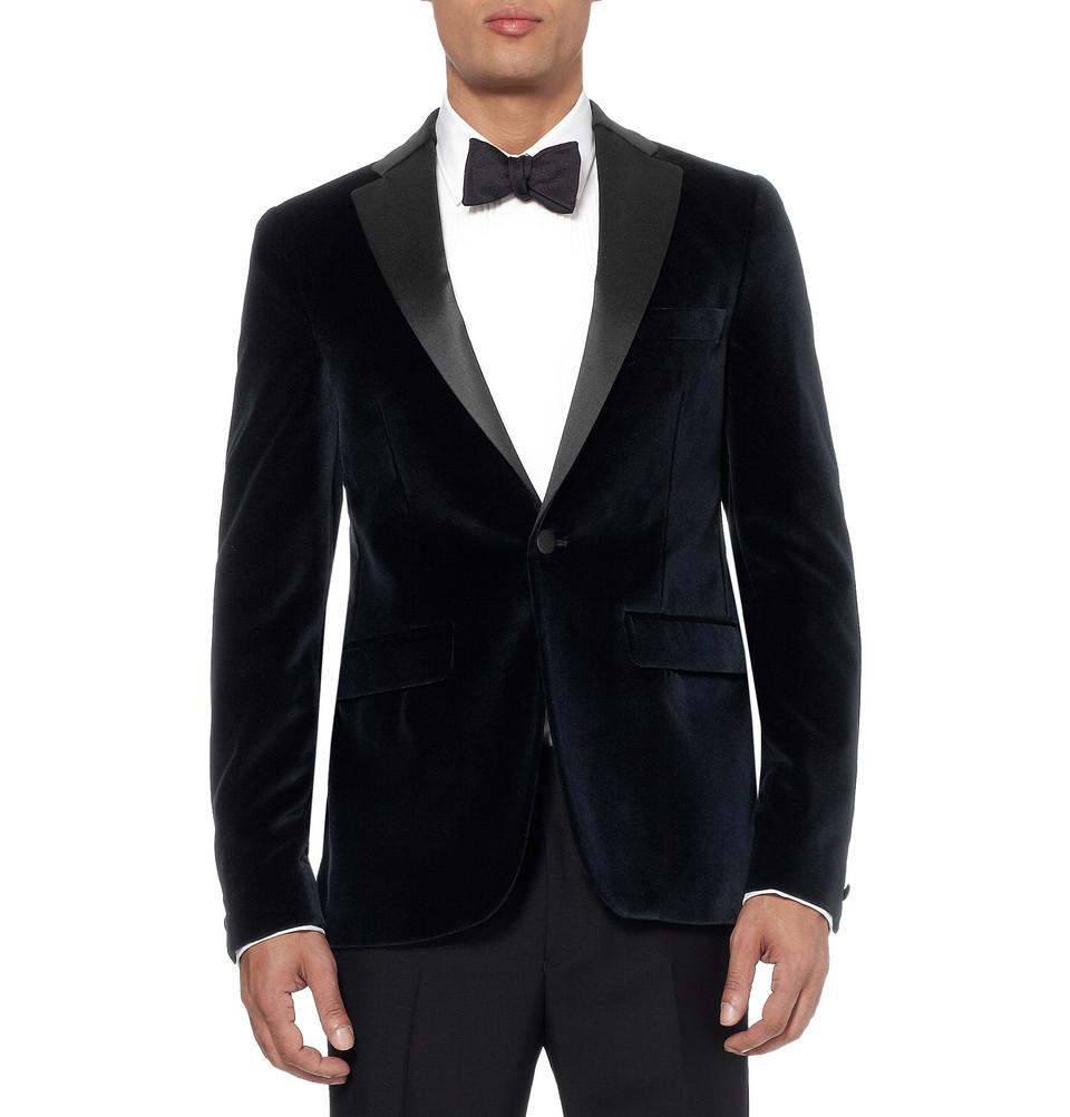 Black Velvet Tuxedo Jacket | OneWed.com