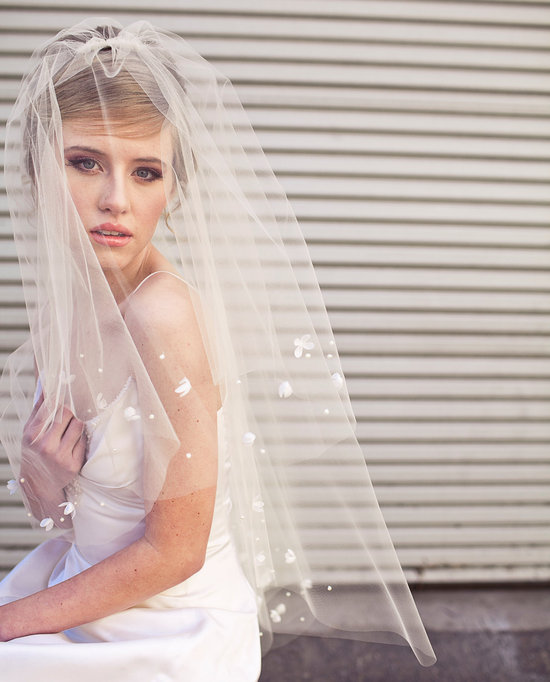 Traditional Bridal Veil with White Petal Applique