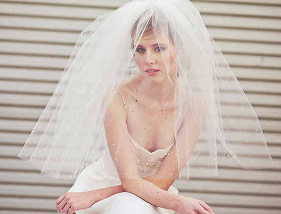 Two Tier Bridal Veil with Scattered Petals