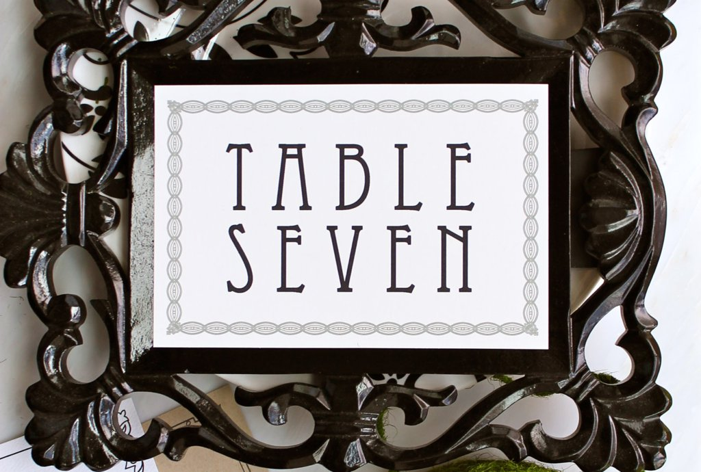 MOdern Vintage Wedding Reception Table Numbers