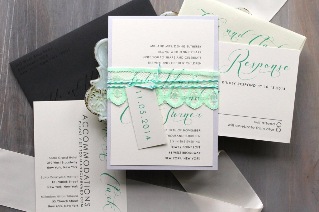 Lace Embellished Wedding Invitations Mint Green Ivory