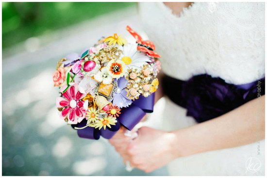 Modern Vintage Brooch Bridal Bouquet