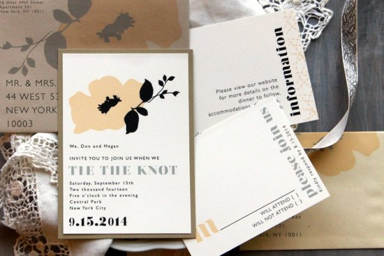 Retro Floral Wedding Invitations Neutrals
