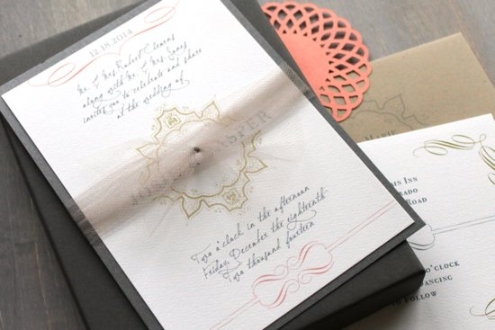 Elegant Vintage Modern Wedding Invitation