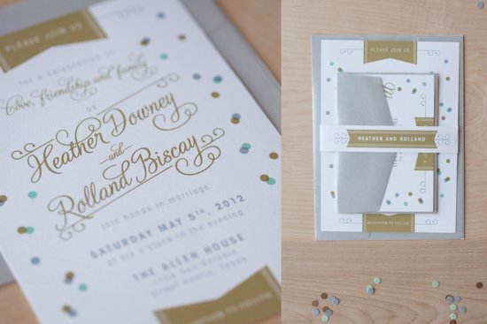 Whimsical Confetti Wedding Invitation