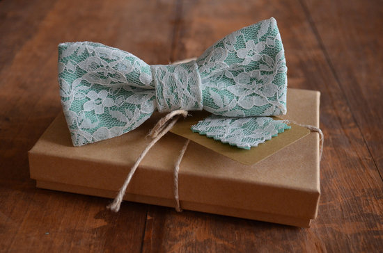 Lace covered grooms bow tie
