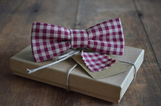 Gingham Grooms Bow Tie