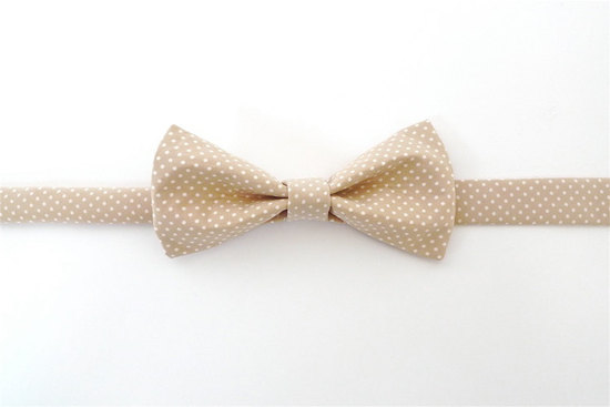 Classic Beige White Bow Tie