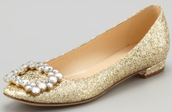 Sparkly Gold Wedding Shoes Pointed Ballet Flats