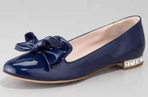 photo of Navy Blue Wedding Shoes Miu Miu Flats
