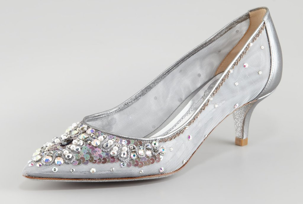 Beautiful Wedding Shoes For Tall Brides Silver With Kitten Heel