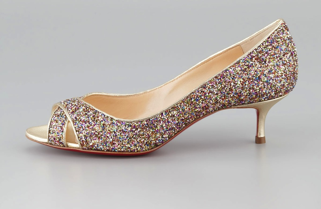 Love this! Low Heeled Wedding Shoes for Tall Brides Sparkly Christian Louboutin #Shoes