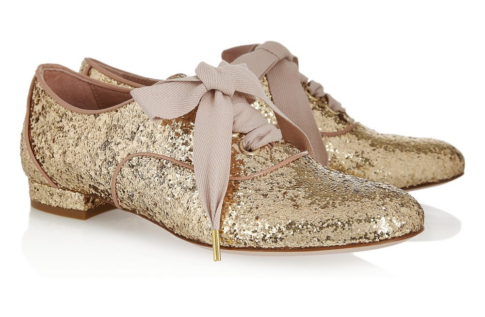 Gold Sparkle Wedding Shoes Flat Laceups | OneWed.com