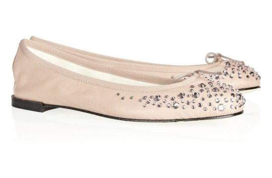 Pretty Blush Ballet Flats Crystal Embellished Wedding Shoes