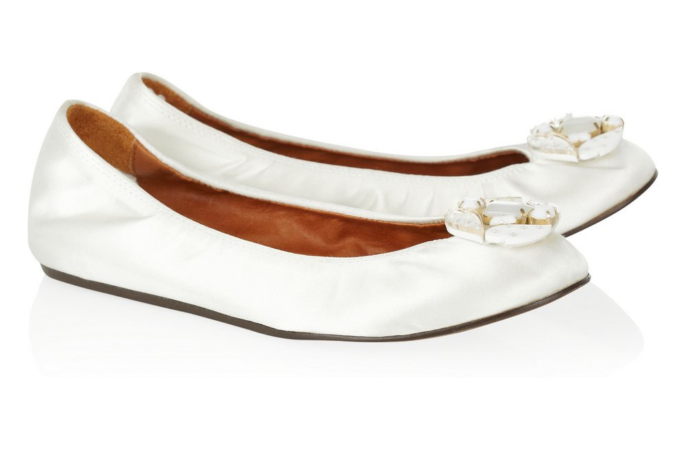 White Ballet Flat Wedding Shoes by Lanvin