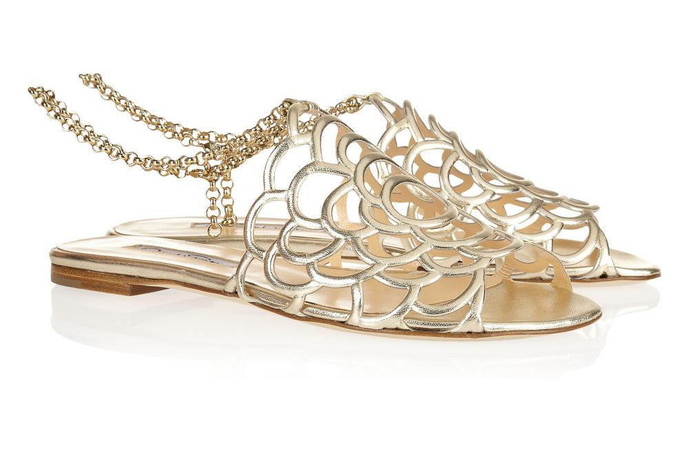 Gold bridal sandals by oscar de la renta for Gold dress sandals for wedding