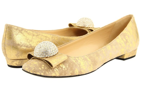 Gold Wedding Shoes Ballet Flats with Rhinestone Detail