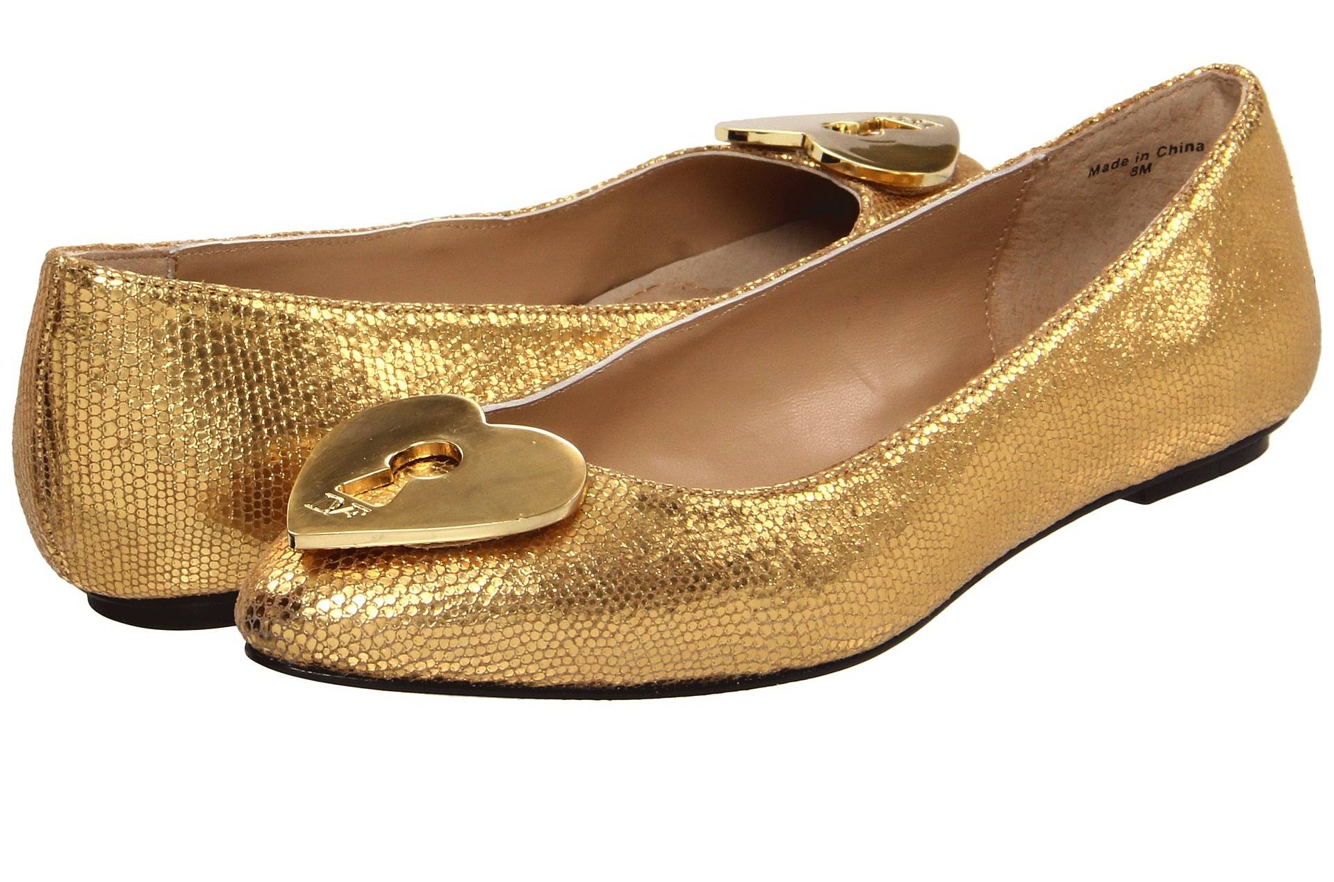 Gold Metallic Wedding Shoes Pointed Ballet Flats | OneWed.com