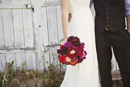 photo of Rustic Outdoor Wedding Deep Red Bridal Bouquet