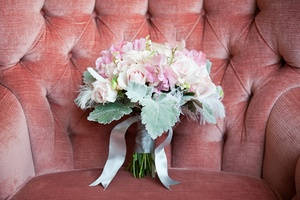 photo of Vintage Romance Bridal Bouquet Light Pink Green