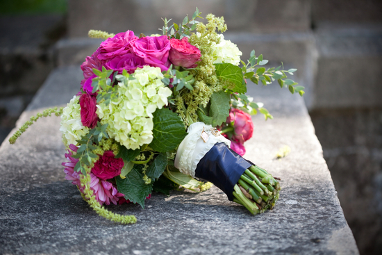 Bright Pink and Green Bridal Bouquet
