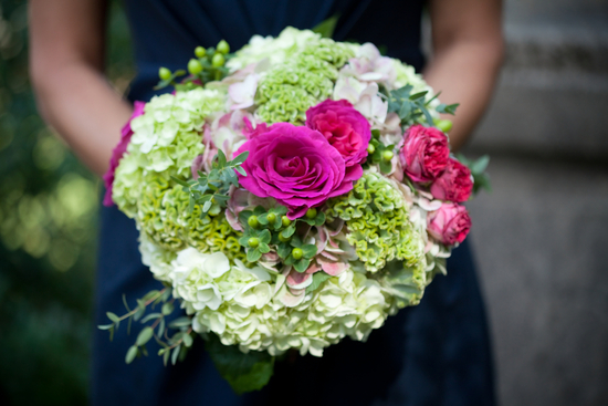 Hot Pink Roses and Light Green Hydrangea Bridal Bouquet