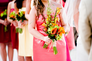 photo of Tropical Bridesmaid Bouquet Orange and green