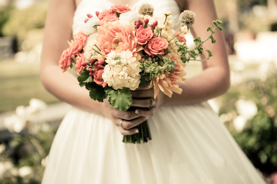 Rustic Romance Bridal Bouquet Coral Ivory