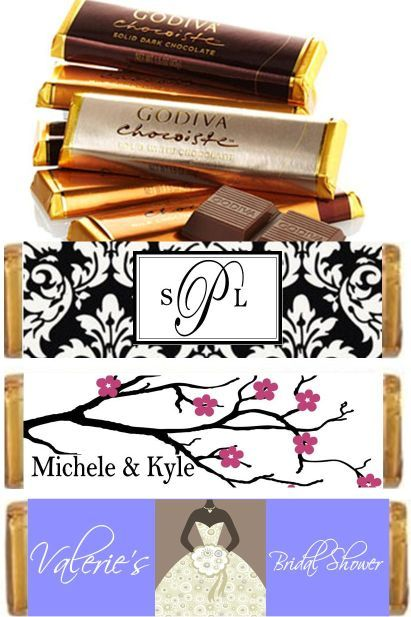 Personalized Godiva Candy Bars and Candy Bar Wrappers