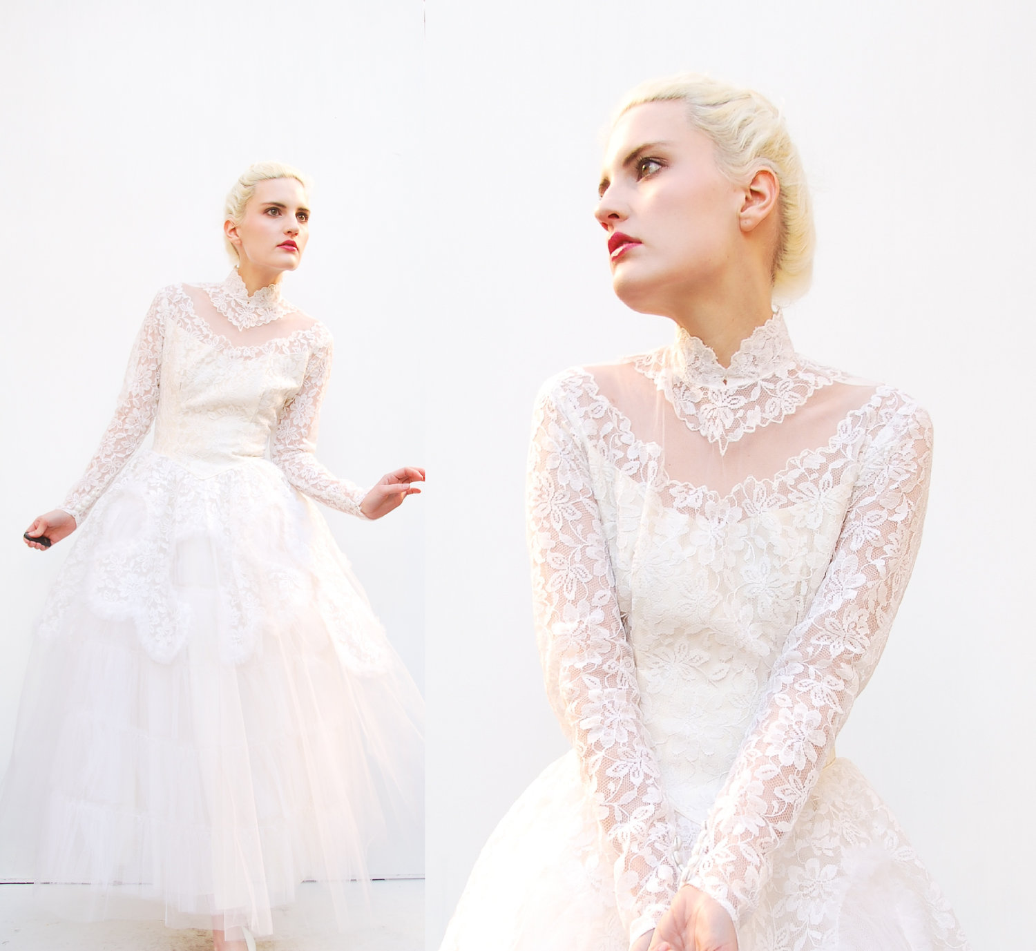 Vintage Wedding Gown Lace Sleeves High Neck