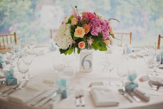 Destination Wedding Romantic Centerpieces with Roses Hydrangeas
