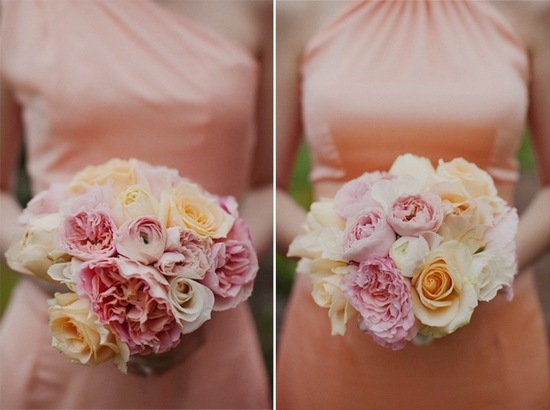 Light Coral Bridesmaid Dresses Pink and Peach Bouquets