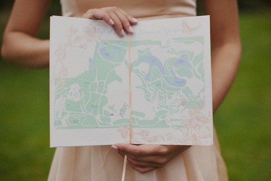 Pastel Wedding Programs Map inspired