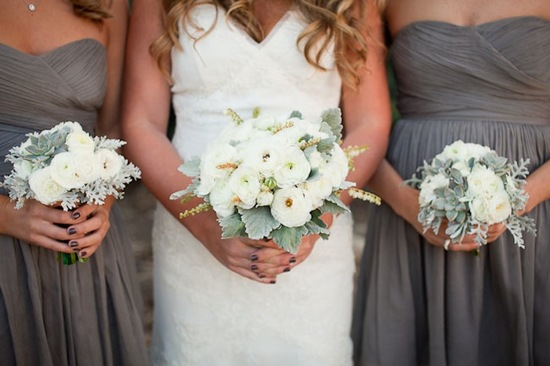 Wedding Flowers with Lambs Ear Ivory Ranunculus Bouquets