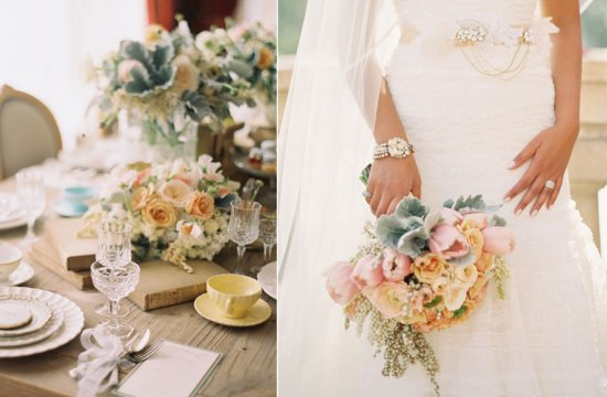 Romantic Wedding Flowers Pastels with Lambs Ear
