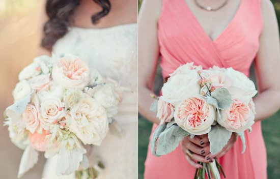 Peach Peonies Lambs Ear Bridal Bridesmaid Bouquets