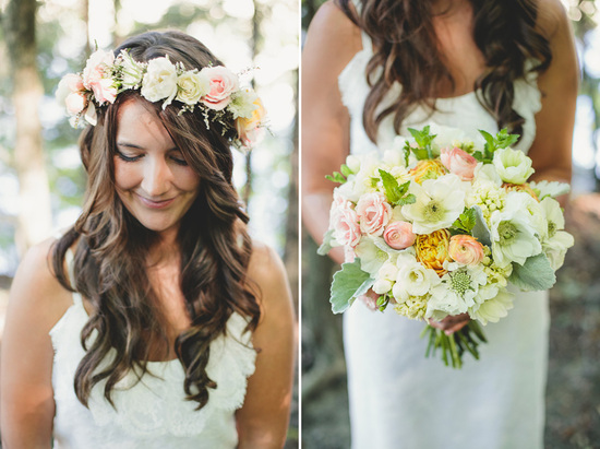 Bridal Bouquet and Bohemian Hair Wreath with Lambs Ear