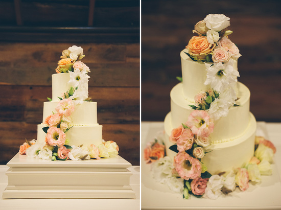 3 tier wedding cake with cascading florals