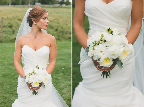 Classic White Bridal Bouquet with Soft Lambs Ear
