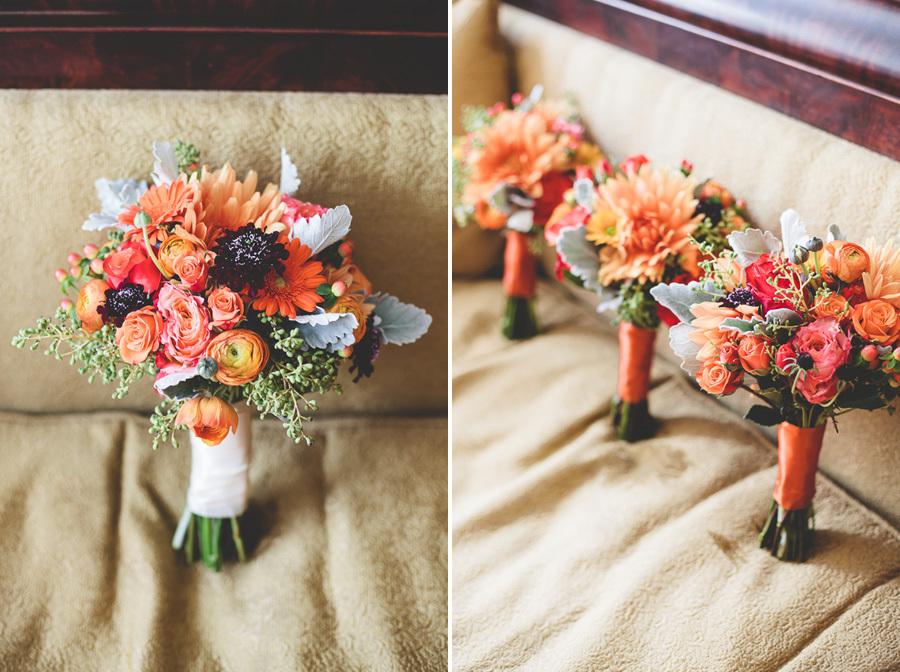 Orange Fall Bridal Bridesmaid Bouquets with Lambs Ear