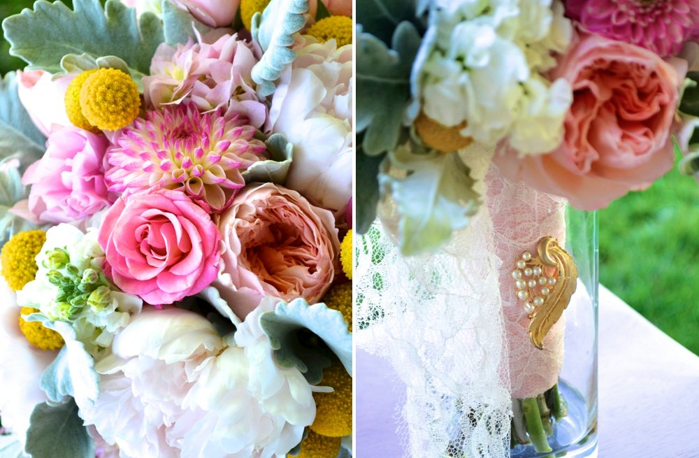 Romantic Bridal Bouquet Pink Sage Yellow