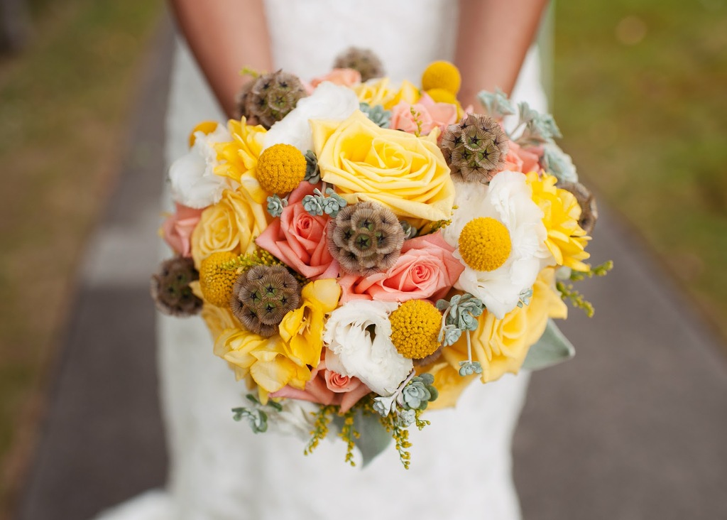 Gorgeous Bridal Bouquet with Yellow Peach Roses Soft Lambs Ear