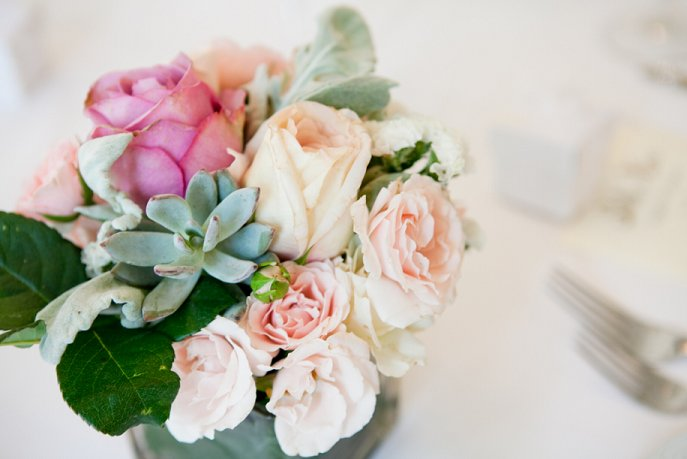 Romantic Wedding Centerpiece with Roses Succulents and Lambs Ear