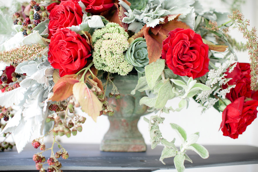 Winter Wedding Centerpiece with Red Roses