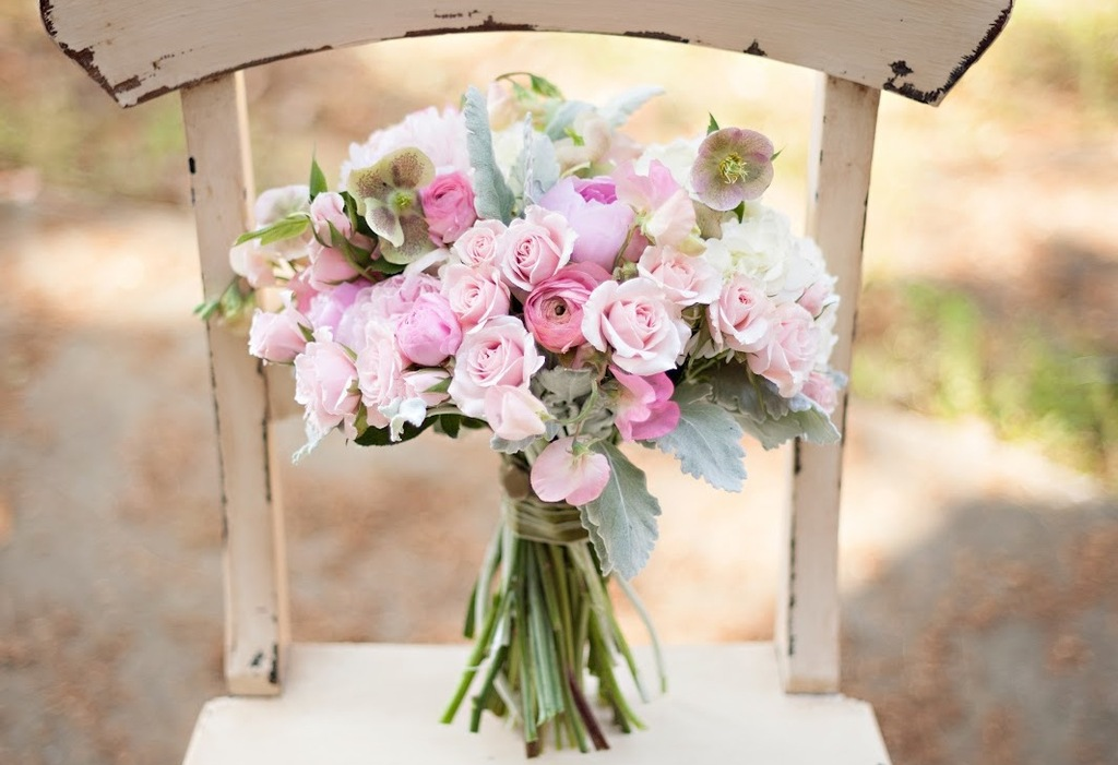 Gorgeous Light Pink and Sage Bridal Bouquet Peonies Lambs Ear