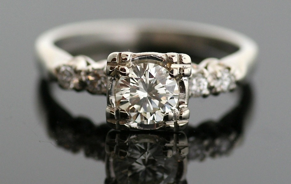 Engagement Rings for 2013 Vintage 1950s white gold