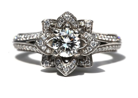 Something Old Engagement Ring Floral Design