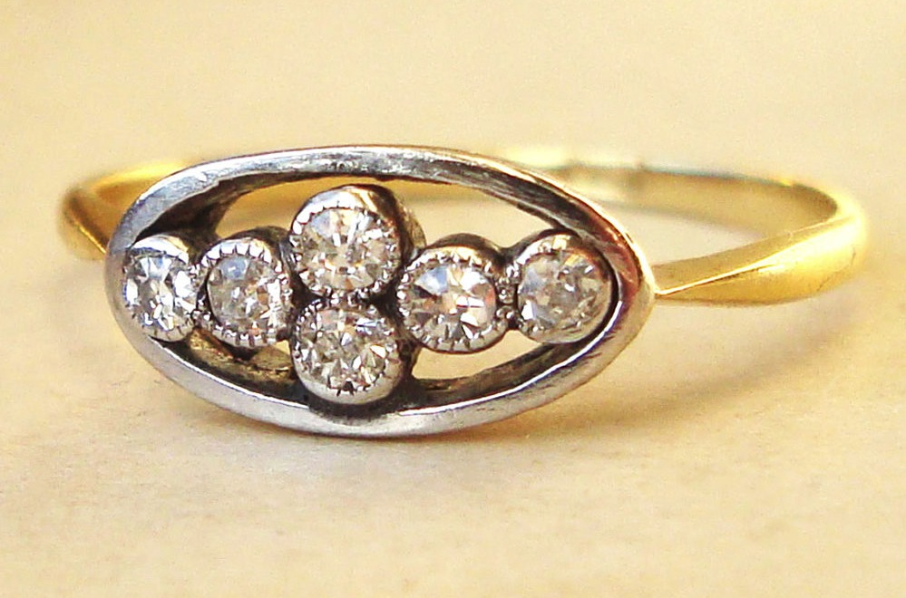 Unique Art Deco Engagement Ring Multi Stone