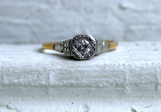 Simple Vintage Engagement Ring Yellow White Gold